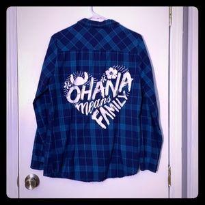 """Disney """"Ohana Means Family"""" Plaid Button Up Shirt"""